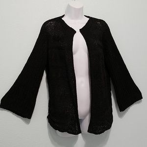 TRIBAL Size M Open-front Cardigan Sweater Black